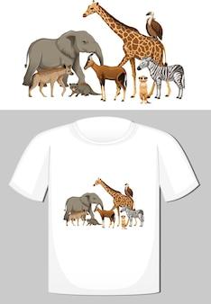 T- 셔츠를위한 야생 동물 디자인의 그룹 무료 벡터