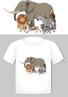 Tシャツの野生動物のデザインのグループ