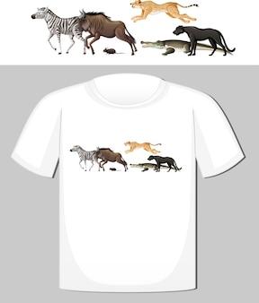 T- 셔츠를위한 야생 동물 디자인의 그룹