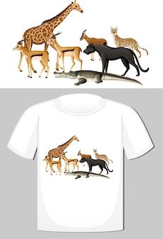 T シャツのデザインの野生動物のグループ