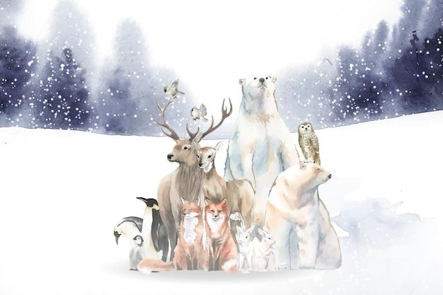 Группа диких животных в снегу, втянутом в акварель