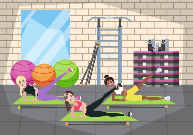 ジムで運動をしている女性のグループ