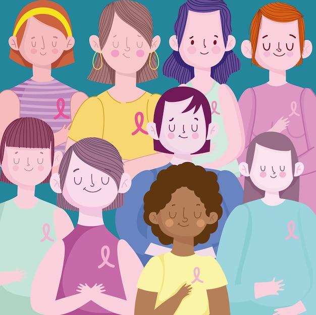 여성 그룹과 핑크 리본 유방암