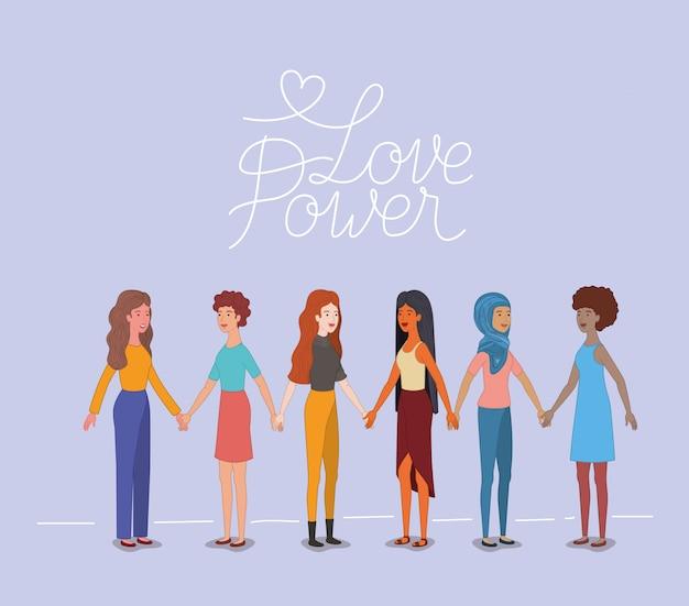 Группа женщин персонажей с феминистским сообщением