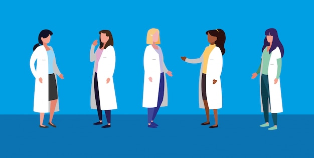女性医師のアバターキャラクターのグループ