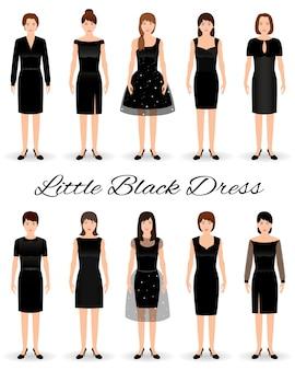 Группа женщин в маленьких черных платьях. набор коктейльных платьев по моделям.