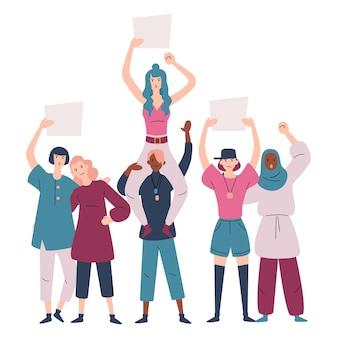 항의하는 여성 그룹. 간판과 여성 시위대의 그룹입니다.