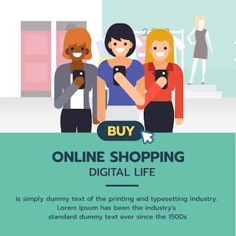 Group of women shopping and buying fashion products from smartphon