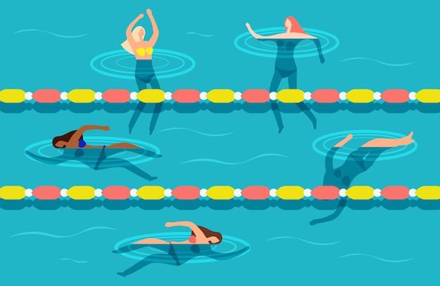 ウォータープールの図で泳いでいる女性のグループ Premiumベクター