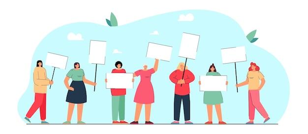 抗議するバナーを持つ女性のグループ。平等と権利のために戦う女性キャラクターフラットイラスト。フェミニズム、ジェンダー平等の概念