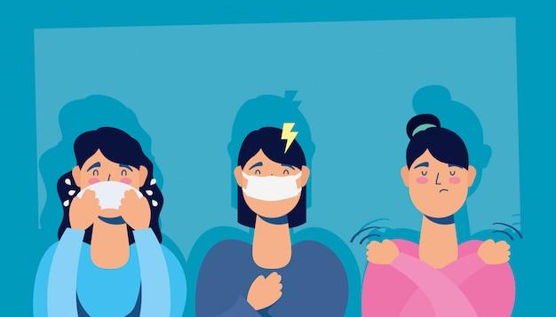 코로나 바이러스 증상이있는 여성 그룹