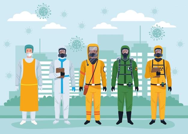 도시에 보호 바이러스 양복과 입자를 사용하는 노동자의 그룹