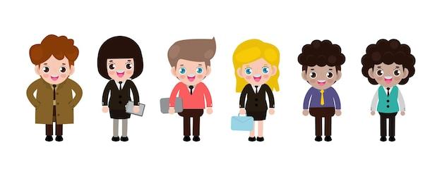 평면 디자인의 배경 비즈니스 남성과 비즈니스 여성에 서있는 일하는 사람들의 그룹