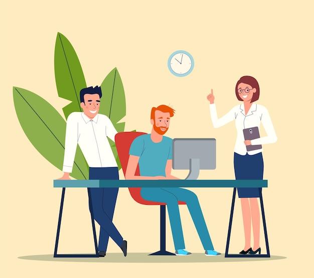 Группа молодых деловых людей, работающих и общаясь, сидя за офисным столом.