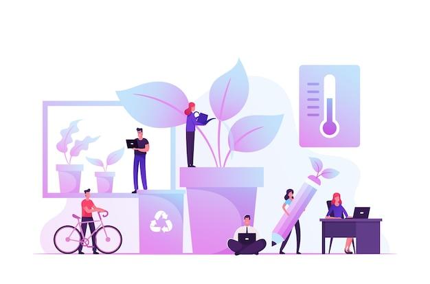 많은 녹색 식물과 현대 사무실에서 함께 일하는 젊은 사업 사람들의 그룹입니다. 만화 평면 그림