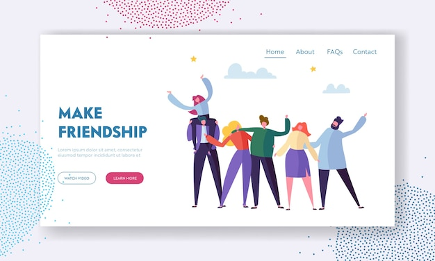 Группа молодых веселых людей радуются размахивая руками и обнимая, концепция дружбы. шаблон целевой страницы
