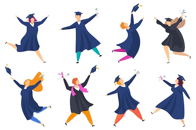 쾌활한 젊은 사람들의 그룹입니다. 학생들은 대학을 졸업했습니다. 고등 교육 기관 졸업생. 미래 계획, 성공 및 성장. 평면 벡터 일러스트 레이 션.