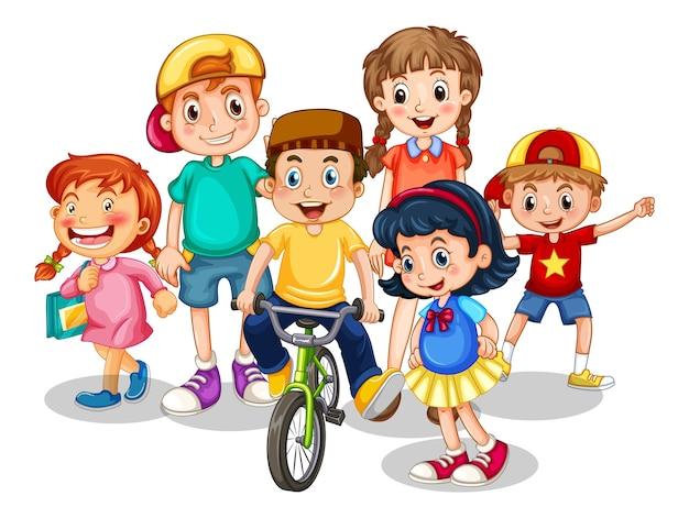Группа маленьких детей мультипликационный персонаж на белом фоне