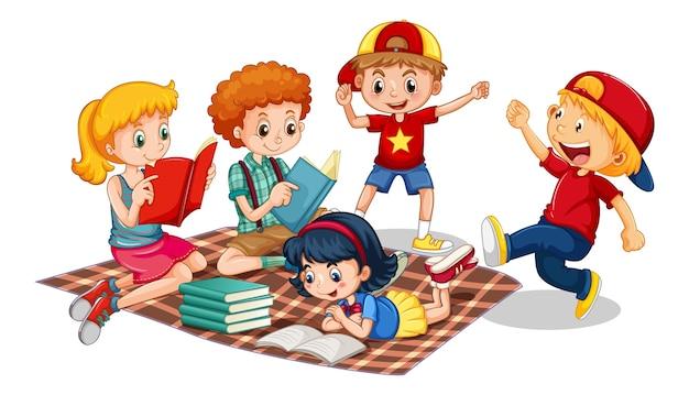 흰색 바탕에 어린 어린이 만화 캐릭터의 그룹