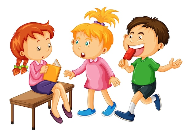 白い背景の上の幼児の漫画のキャラクターのグループ