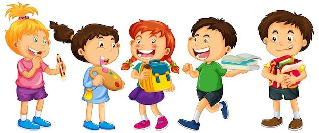 白の幼児漫画のキャラクターのグループ