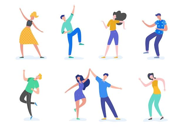 若い幸せなダンスの人々または白い背景で隔離された男性と女性のダンサーのグループ。ダンスパーティーを楽しんでいる若い男性と女性の笑顔。フラットな漫画のスタイルで