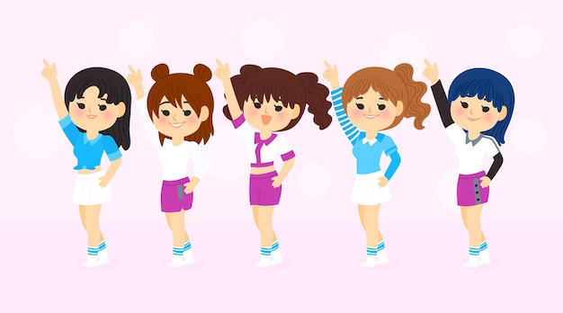 Группа молодых девушек k-pop