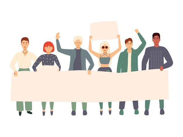 젊은 남성과 여성이 함께 서 있고 빈 배너를 들고 그룹. 퍼레이드 또는 집회에 참여하는 사람들. 남성과 여성 시위대 또는 운동가. 플랫 만화 화려한 일러스트