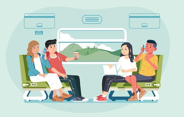 電車で旅行する若い男性と女性のグループが向かい合って座って、イラストをチャットします。バナー、ウェブサイト画像などに使用