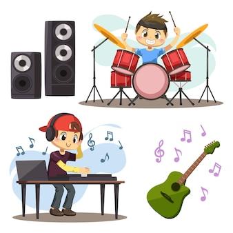 若いミュージシャンのグループがスピーカーの近くでドラムを演奏し、ギターの近くで音楽レコードをオンにします