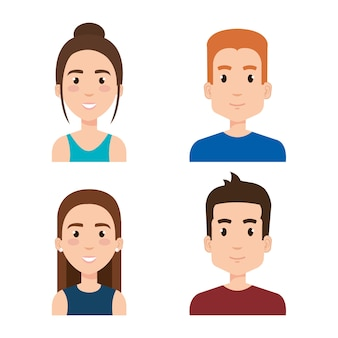 Group of young people avatars vector illustration design