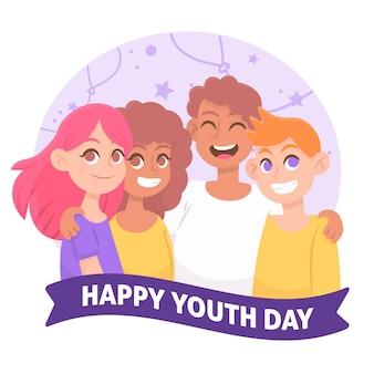 Группа молодых людей празднуют