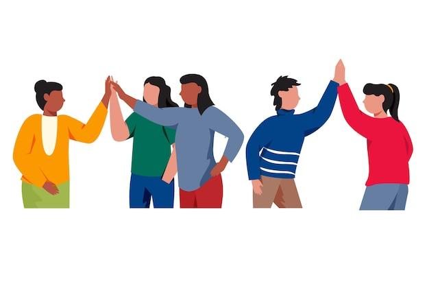 Группа молодых людей, дающих высокие пять иллюстрированных