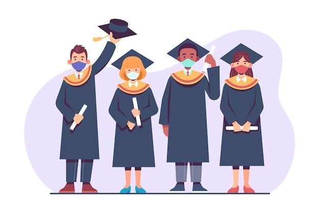 卒業する若者のグループ