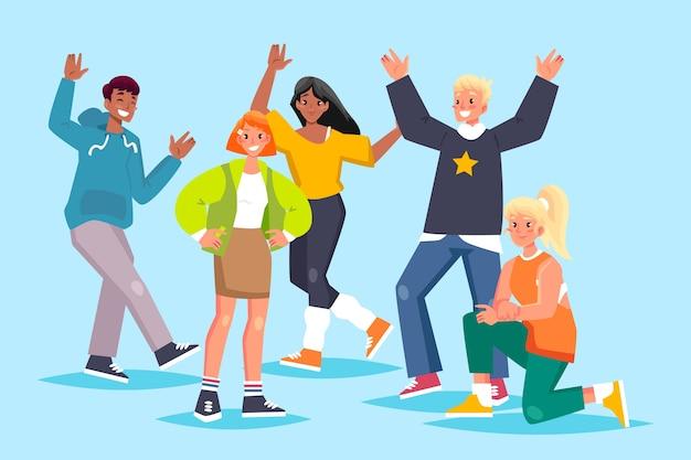 Группа молодых людей иллюстрации