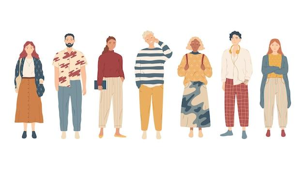 캐주얼 옷에 젊은 사람들의 그룹입니다.