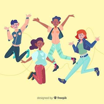 Группа молодых людей прыгает