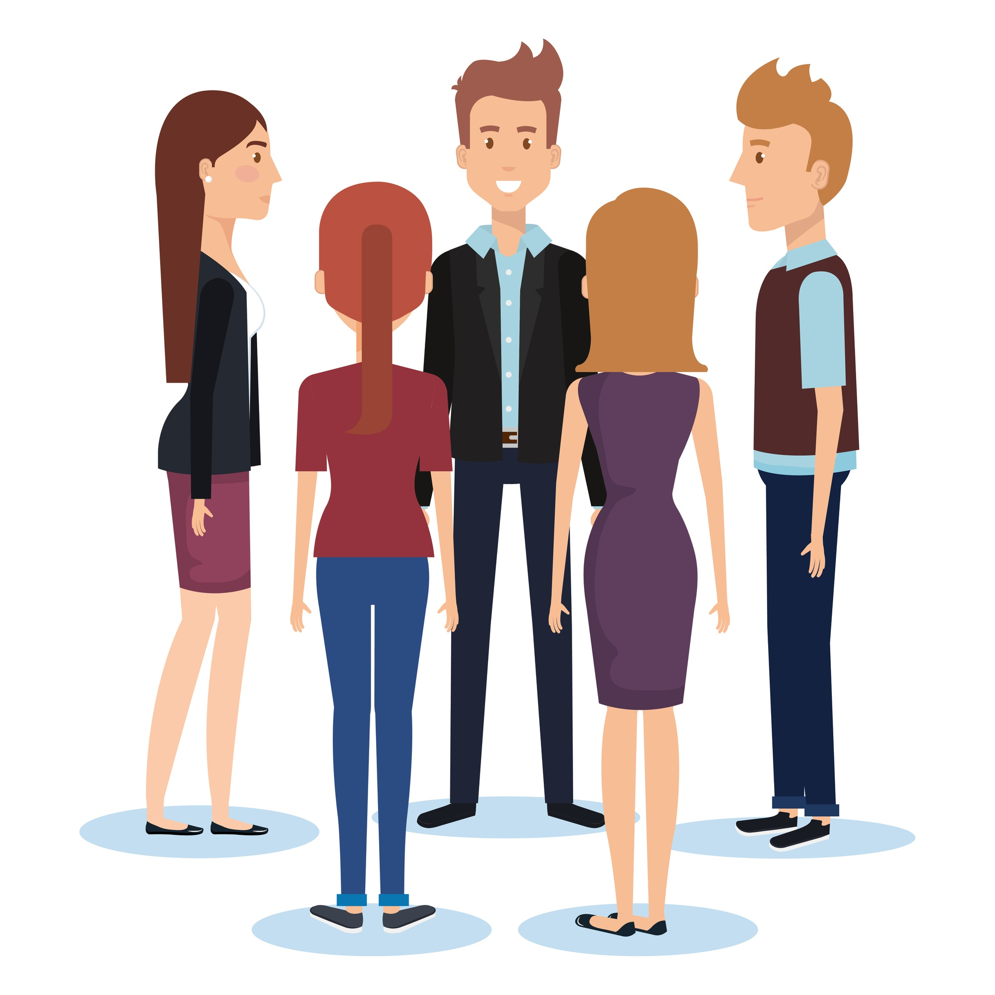 Group of young people poses and styles vector illustration design