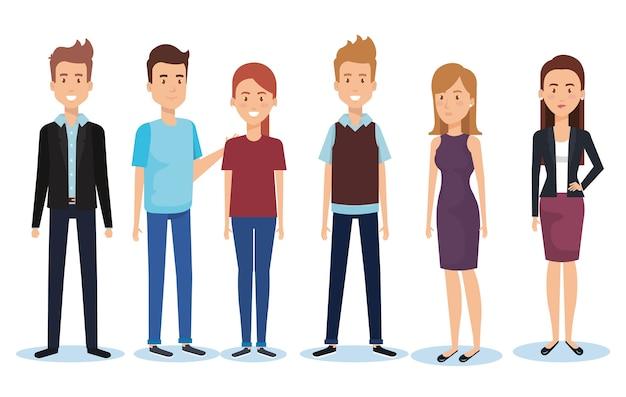 Группа молодых людей позы и стили дизайн векторной иллюстрации