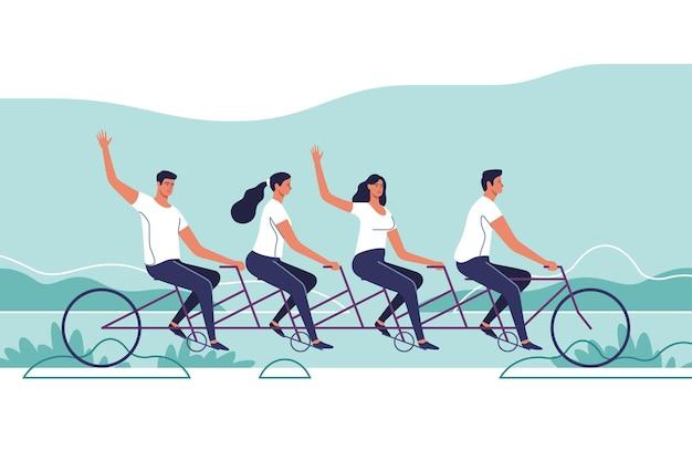 탠덤 자전거를 타는 젊은 사람들의 그룹