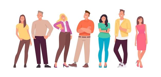 Группа молодых людей. набор символов счастливых мужчин и женщин. в плоском стиле.