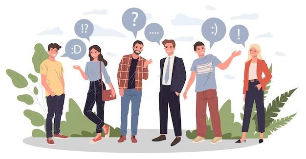 Группа молодых людей, говорящих иллюстрации