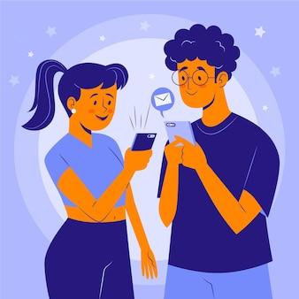 스마트 폰을 사용하는 젊은 사람들의 그룹