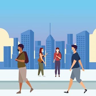 Группа молодых людей, одетых в медицинские маски на дизайн векторной иллюстрации города