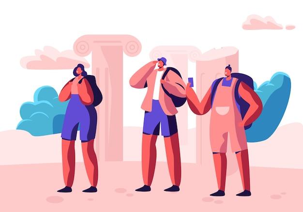 Группа молодых людей с рюкзаками и смартфонами, путешествующих за границу. иллюстрация концепции