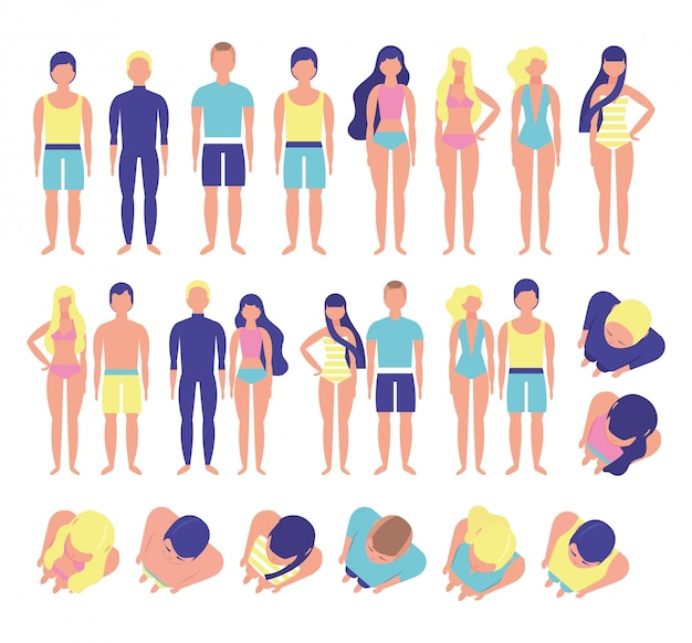 해변 의상을 가진 젊은 사람들의 그룹 번들 문자