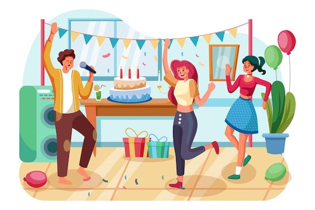 생일 파티에서 춤을 추는 동안 축제 속성을 가진 젊은 사람들의 그룹