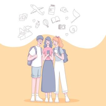 휴가 여행을가는 여행 항목과 함께 사람들을 여행하는 젊은 십대 관광객의 그룹입니다. 플랫 스타일의 일러스트레이션