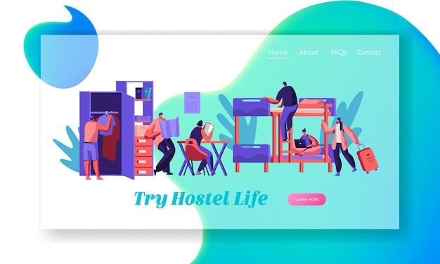호스텔 룸 랜딩 페이지의 젊은 여행자 그룹. 국제 경제 여행 컨셉 웹 사이트 또는 웹 페이지. 사람들이 캐릭터 내부와 호텔 인테리어. 플랫 만화 벡터 일러스트 레이션