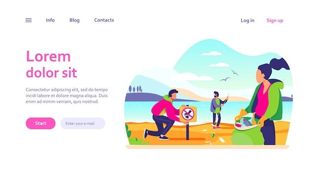 オーシャンビーチのwebテンプレートでゴミを収集する若いボランティアのグループ。エコロジーとクリーンプラネットのコンセプト